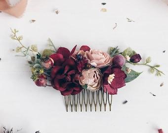 Burgundy flower Hair comb, Deep red Bridal hair comb, Wedding hair comb, Bridal flower headpiece, Wedding headpiece, Winter wedding