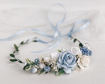 Flower crown, Blue flower crown, Dusty Blue Flower girl crown, wedding Flower crown, Bridal flower crown, Rustic flower crown