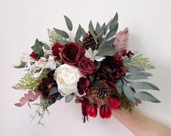 Wedding bouquet, Burgundy Bridal Bouquet, Christmas wedding Bouquet, Pine cones Wedding Bouquet, Winter wedding Bouquet