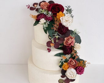 Wedding cake topper with flowers, Burnt Orange Flower cake topper, Burgundy cake topper, Eucalyptus wedding cake topper