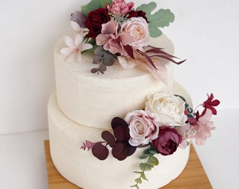 Wedding cake topper with flowers, Dusty rose Flower cake topper, Rose Gold cake topper, Burgundy wedding cake topper