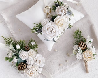 Boutonniere and wedding corsage, Ring bearer pillow, White Wedding ring pillow, Pine cones, Winter Wedding decor