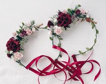 Flower girl crown, burgundy flower crown, Flower crown, flower crown wedding, flower girl flower crown, flower crown for girls
