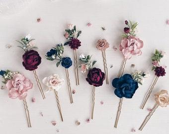 Gothic wedding hair pins Floral hair pins Burgundy navy wedding hair pins