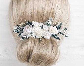 Flower hair piece etsy white flower hair piece quarter flower piece bridal headpiece wedding white bridal headpiece green flower vine white flower headpiece mightylinksfo
