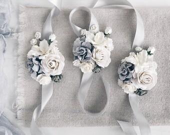 White Flower Corsage Etsy