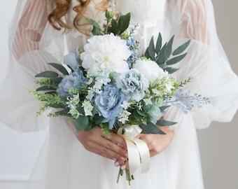 dusty miller brides bouquet silvery gray Bridal bouquet ivory bouquet dusty blue winter bouquet bridesmaids bouquet