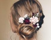 Flower hair pins, Set of 4, Burgundy flower hair clip