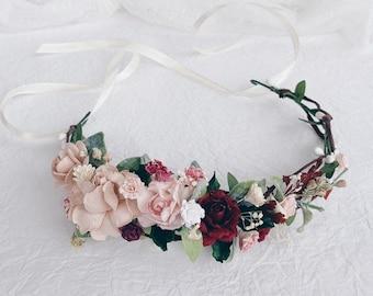 Flower crown, wedding flower crown, flower girl crown, burgundy flower crown, flower crown wedding, flower crown for baby