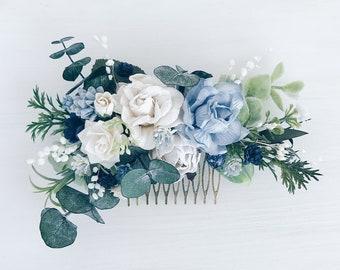 floral hair piece greenery comb blue hair clip blu bridal hair piece floral hair comb Bridal Floral Hair comb Blue and white headpiece