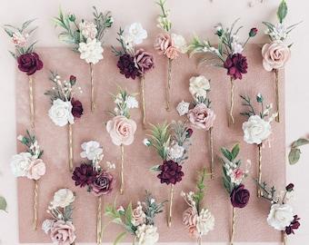 Flower hair pins, flower hair clip, Burgundy flower hair pins, Bridal flower hair piece, Wedding flower hair comb