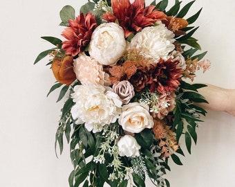 Cascading Wedding bouquet, Cascade Orange Bridal bouquet, Terracotta Bridesmaids Bouquet, Wedding Flowers, Orange Wedding bouquet