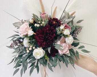 Pampas grass wedding bouquet, Boho Wedding bouquet, Burgundy wedding bouquet, Burgundy Bridal bouquet, Pink Wedding bouquet