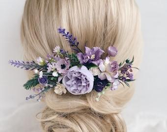 lavender hair Lilac Mauve hair flowers Flower hair pins Purple hair pins hair comb wedding bridal hair piece purple set of hair pins