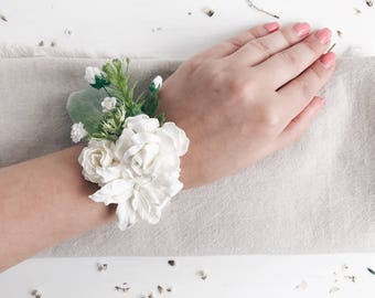 White wrist corsage etsy more colors white wrist corsage white flower mightylinksfo