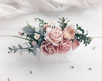 Flower hair comb etsy flower hair comb blush bridal hair clip wedding hair comb blush pink flower clip mightylinksfo
