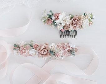 Easter sash wedding flower girl sash double sided satin ribbon sash blush flower maternity sash, rose taupe wedding sash Bridal belt