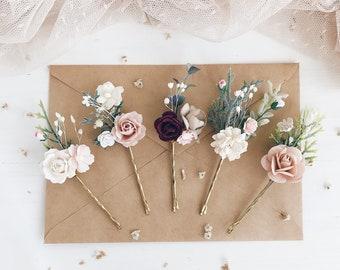 16d9ae89354d Blush Flower hair pins, Bridal flower hair clip, Wedding flower hair piece,