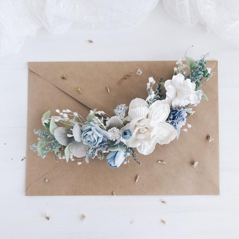 Bridal hair clip Flower hair comb Wedding headpiece Blue hair piece