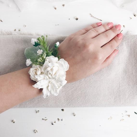 White Wrist Corsage White Flower Bridesmaids Wrist Corsage Etsy