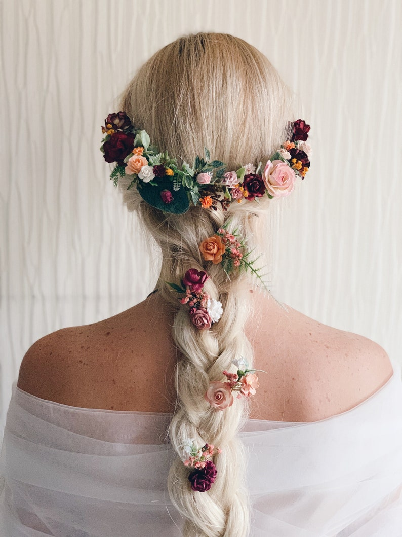Bridal flower hair piece Flower crown Weddings Burgundy flower crown Wedding flower crown