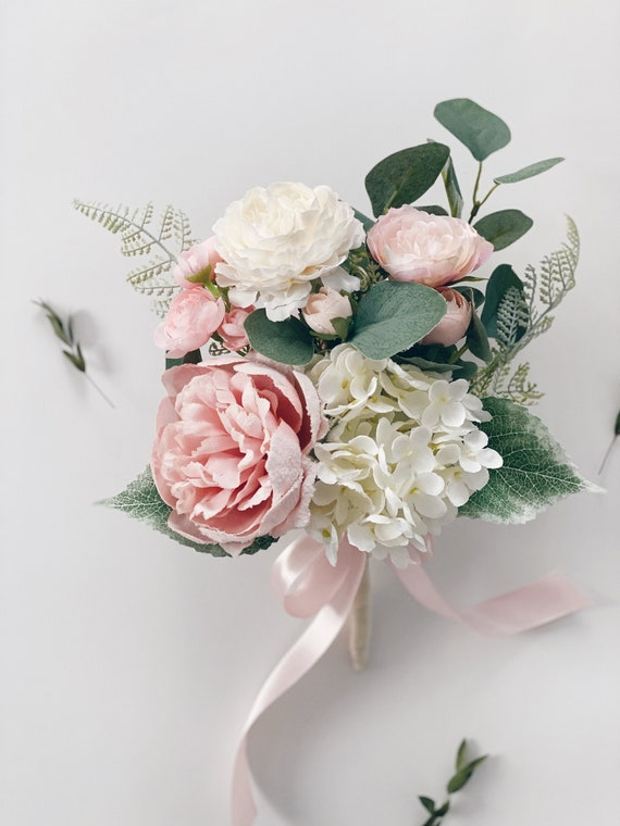 Silk Wedding Flowers Harmony Centerpiece Pink Cherry Blossom Bouquet Spring Bridal or Bridesmaid Bouquet White Eyelet Lace