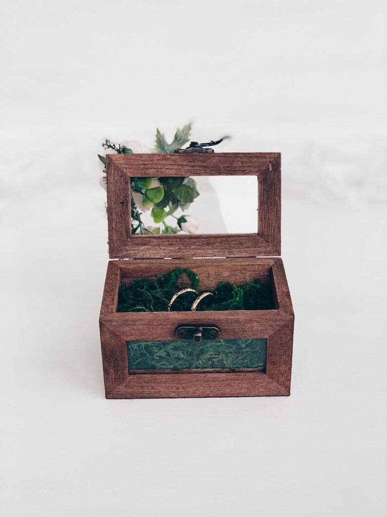 Rustic Ring Bearer Box Woodland wedding Wedding Ring Holder Blush flowers wedding Ring bearer Wedding Ring Box Wedding Ring bearer box