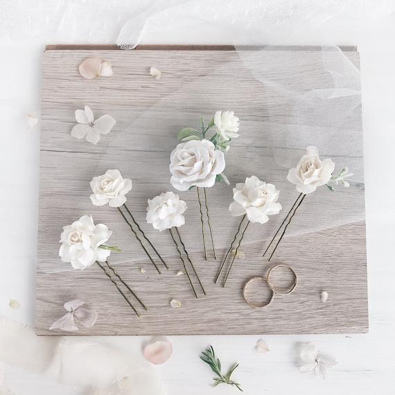 Flower Hair Pins Bridal Hair Pins White Wedding Flower Hair Pins White Flower Bridal Hair Clip Bridesmaids Bridesmaids