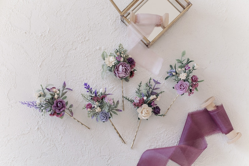 Lilac flower hair comb Wrist corsage and boutonni\u00e8re Flower hair pins flower hair clip Lavender boutonni\u00e8re Flower hair comb