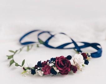 Flower crown, burgundy flower crown, wedding flower crown, Flower girl crown, bridal flower crown, flower crown wedding