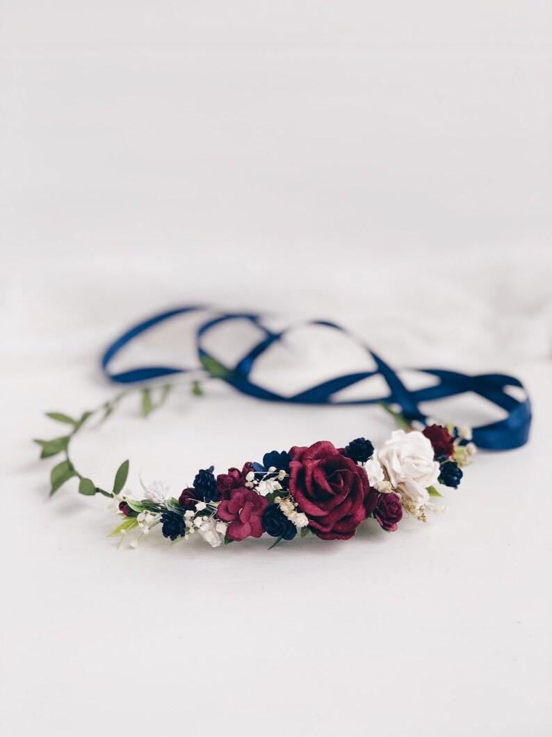 woodland crown greenery wedding crown burgund Bridal floral crown bohemian headpiece flower crown rustic flower wreath flower girl