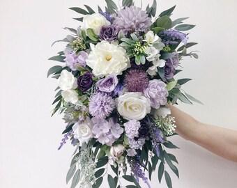 Cascade Wedding bouquet, Lavender Bouquet, Cascading Bridal Bouquet, lilac Wedding Bouquet, Eucalyptus Bouquet