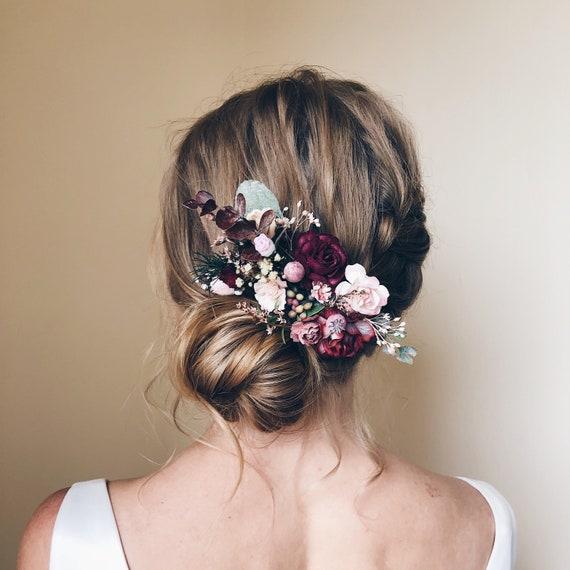 pink flower hair comb hair flower rustic wedding Bohemian bridal comb Bridal accessory