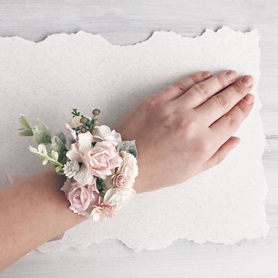 Corsage Flowers For Weddings: Blush Pink Flower Wrist Corsage Rose Quartz Bridal