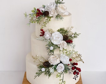 Wedding cake topper, Pine cones cake topper, White flowers cake topper, Winter wedding cake topper