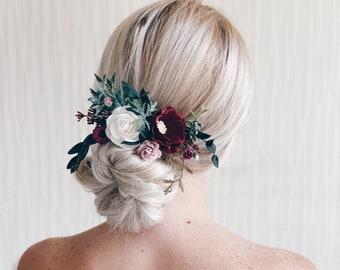 Flower Hair comb, Burgundy flower hair comb, Bridal flower hair comb, Wedding flower hair clip