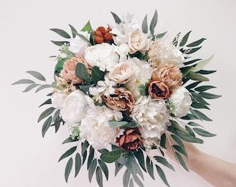 Wedding bouquet, White Bridal Bouquet, Terracotta bouquet,Bridesmaids bouquet, Taupe Peony Bouquet, Eucalyptus wedding bouquet, Silk Bouquet