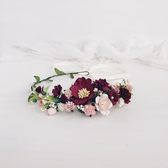 Wedding Flower Crown Burgundy Flower Crown Flower Crown Etsy