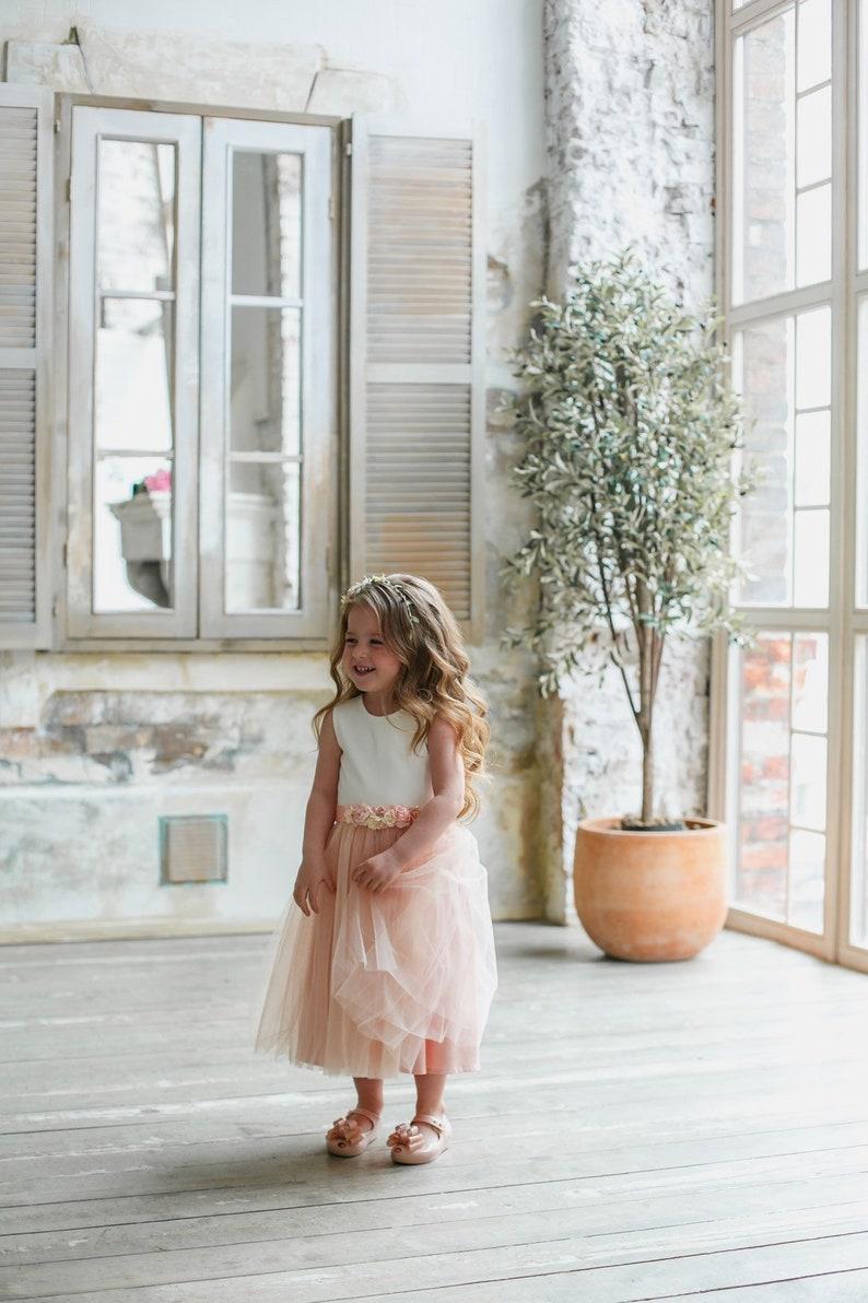 Blush flower girl dress girl dress tulle Dusty rose girl dress tulle Flower girl dress