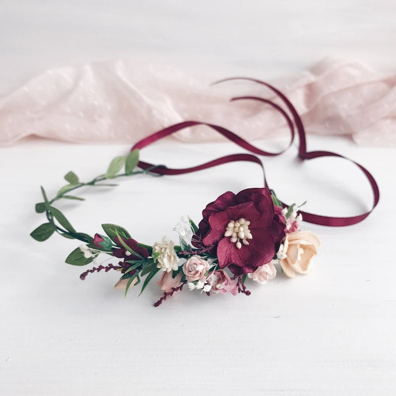 Flower crown Flower girl crown Burgundy flower girl crown image 0
