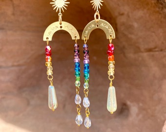 titanium handmade earrings with Jewelers bronze. green and pink Three piece Unique multi colored rainbow