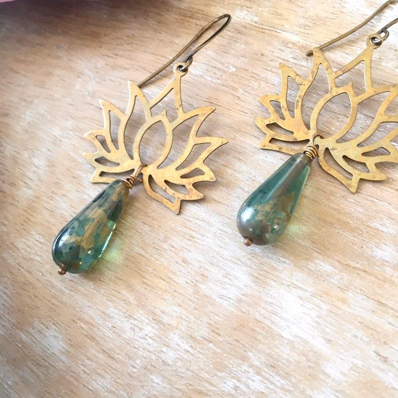 Oxidized Brass Lotus Boho Earrings with Gold /& Green Czech Glass Drops