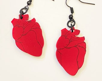Anatomical Heart Mirror Earrings