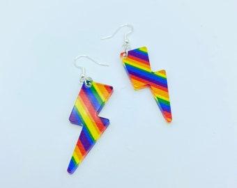 Rainbow Lightening Bolt Earrings