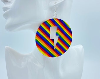 "3"" Round Rainbow Earrings"