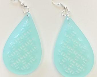 Teardrop Geometric Pattern Frosted Light Blue Earrings Style 2