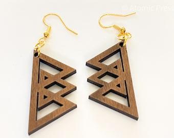 Wood Geometric Triangle Earrings