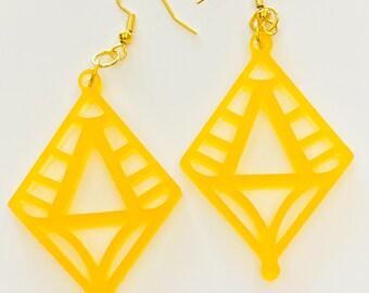 Lantern Frosted Yellow Earrings