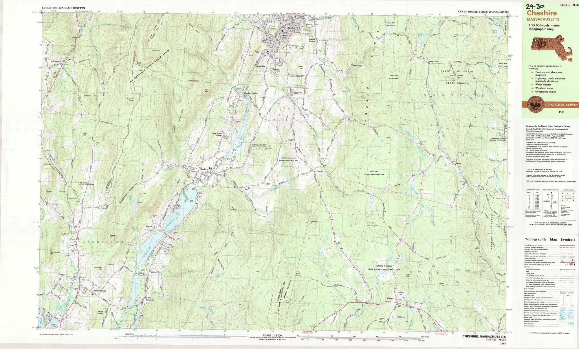 Cheshire 1988 Topo Map Original 1 25000 Folded 29 30 207 Etsy