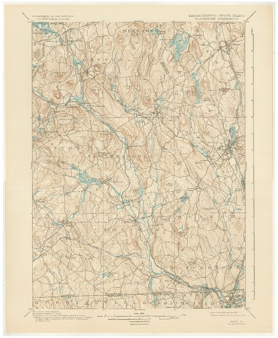 Topographic Map Massachusetts.Blackstone Ma Ri 1900 1930 Original Usgs Topographic Map Etsy